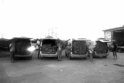 交通疏堵时 查获4车涉走私冻货 包括猪脚猪杂牛杂等,总重4820公斤,有的已发臭